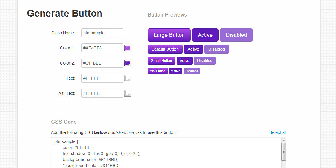 Button generator bootstrap